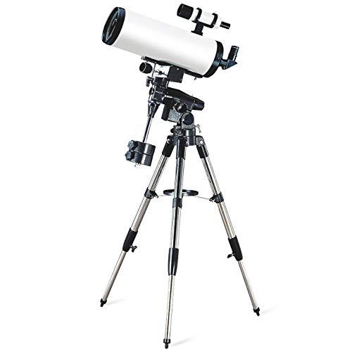 Tragbares Astronomie-Teleskop 150/1800 EM100 Sternenteleskop HD Raum Landschaft Scope Sucherokular 7x50 Refraktor Tischteleskop (Farbe : White, Size : Focal Length 1800mm)