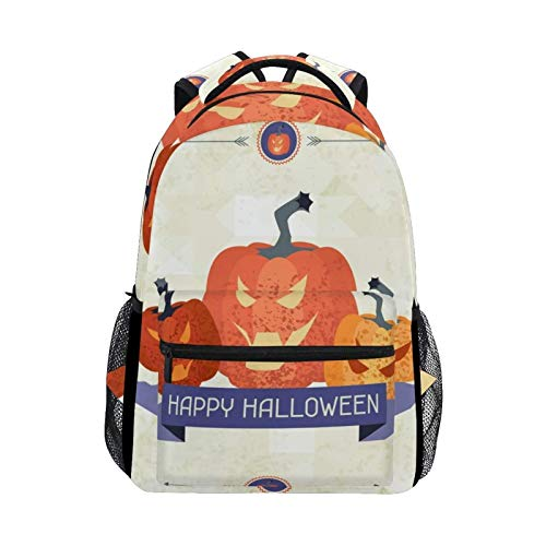 DOUBLE Shoulder Bag Happy Halloween Pumpkin Casual Laptop Gift School Bag College Printed Daypack Travel Book Backpack Student for Kids Girls Men Boys Women