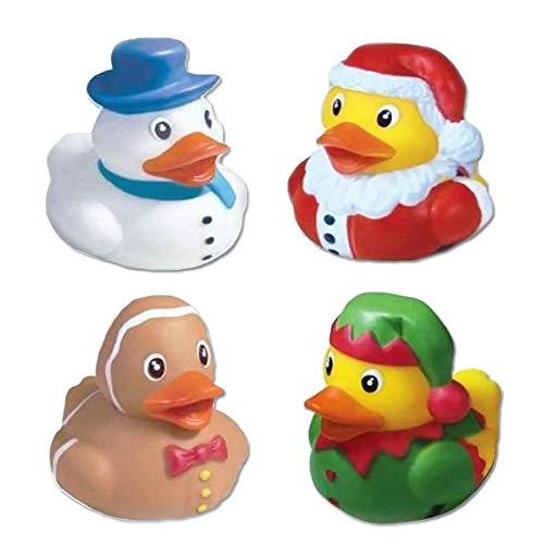 Vlish Holiday Assorted Rubber Ducks – Set of 12   Christmas Bathtub Decorations   Tub Duckies   Stocking Stuffer   Bathroom Toy   Festive 2 Inch in Size