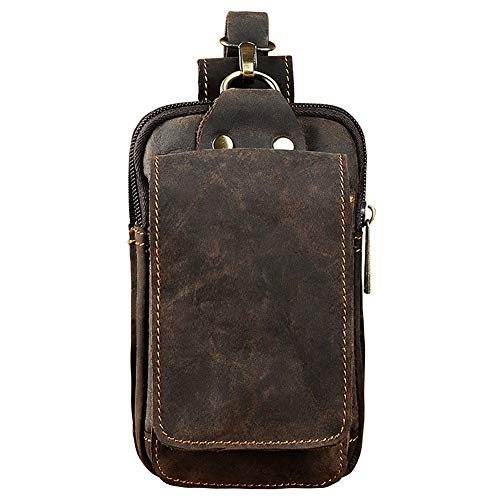 Boshiho - Riñonera para hombre, de piel auténtica, para cinturón, bolso para paquete de tabaco, teléfono móvil, cartera o monedero, Riñonera marrón (Marrón) - BOSHIHO-BUMBAG-069BR