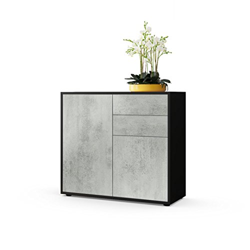 Vladon Kommode Sideboard Ben, Korpus in Schwarz matt/Fronten in Beton Oxid Optik