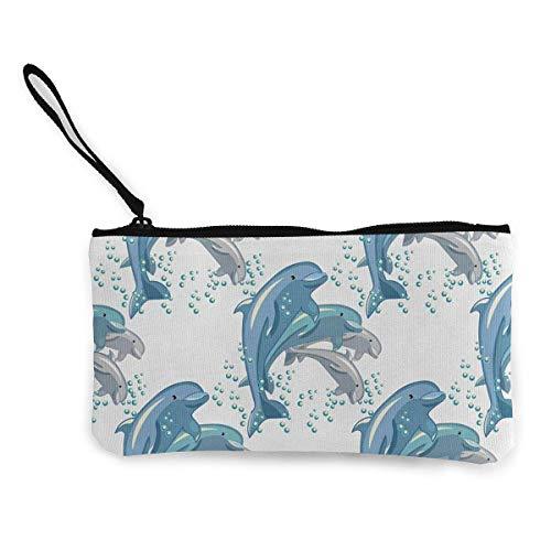 Change Cash Wallet, Happy Dolphins Jumping Canvas zachte portemonnee voor het winkelen Casual Gathering, 22 (L) x12 (W) cm