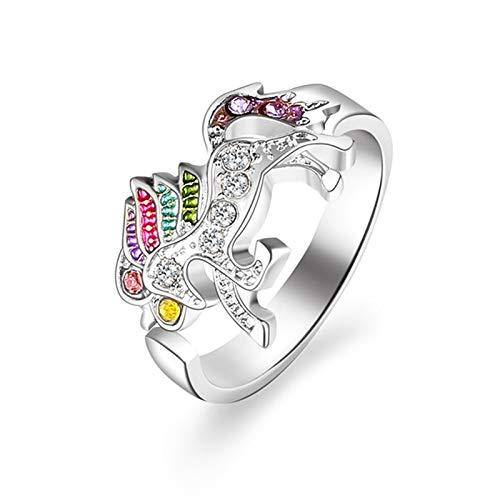SUZHENA Anillo Anillo de unicornio de dibujos animados lindo de moda para mujer Regalo de joyería de anillo de dedo de cristal de aleación ajustable, oro rosa, redimensionable