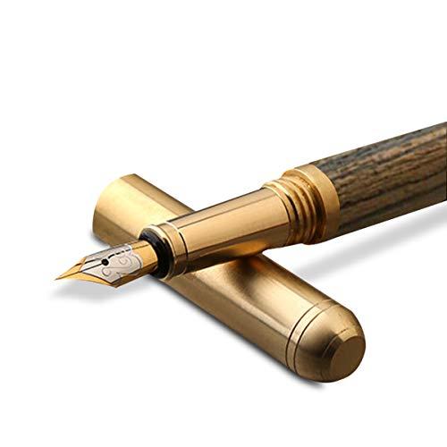 MARSACE Penna Stilografica Legno Fountain Pen Ergonomico Fatto a Mano Penna Stilografica Regalo per Uomini Donne Tiger Wood A