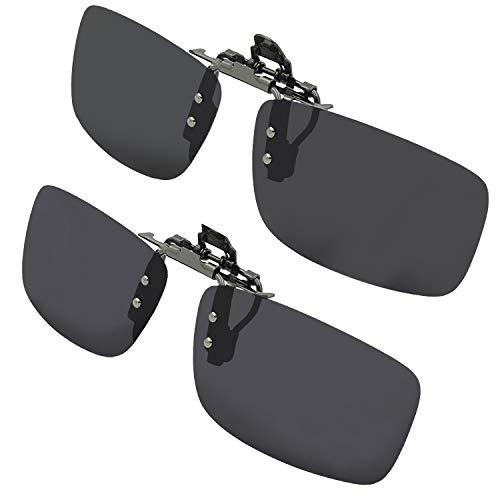 Gafas de sol polarizadas con clip para gafas de sol con estuche, Juego de 2 ahumados., 58mm