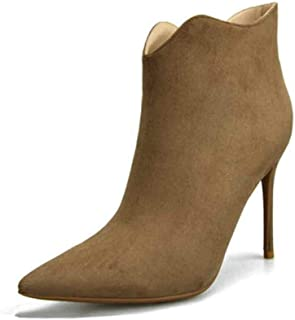 Nafanio Women's Pointed Toe Ankle Boots Side Zip Winter Autumn Sexy Stiletto High Heels Dress Booties