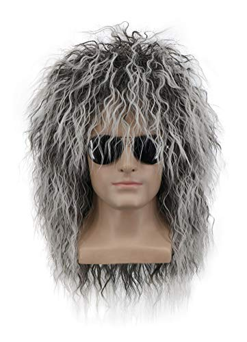 Yuehong Long Curly Rock Star Style Wigs Halloween Cosplay Wig Anime Heat Resistant Wigs
