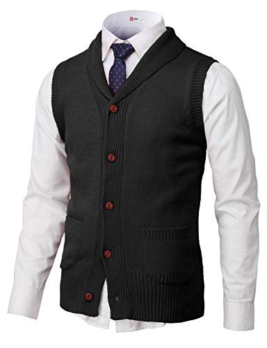 H2H Mens Casual Shawl Collar Button Down Pullover Vests Black US M/Asia L (CMOV048)