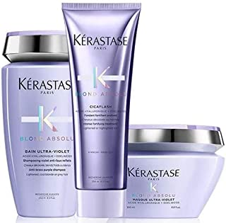 Kérastase Blond Absolu Bain Ultra-Violet 250ml, Cicaflash Conditioner 250ml & Masque Ultra-Violet 200ml Pack