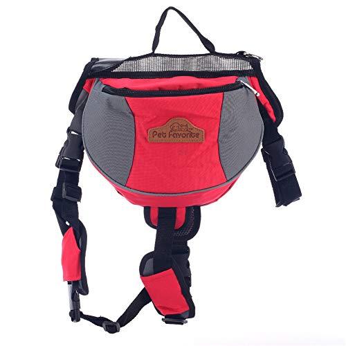 Zongha Dog Backpacks Dog Harness Backpack Dog Harness Bag Adjustable Dog Backpack Pet School Bag Dogs Self Backpack Dog Rucksack Dog Walking Accessories red,L