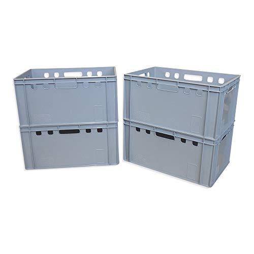 4er Set E3-Kiste Eurobox Metzgerkiste Lagerbox 60x40x30 cm stabil für Lebensmittel geeignet (grau)