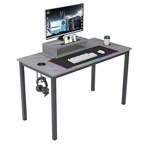 sogesfurniture Gaming Computer Desk, 47 inches Desk Gaming Table Workstation Desk with Display Stand & XL Mouse Pad & Headphone Holder, Grey BHUS-AC14LB-PRO-E1