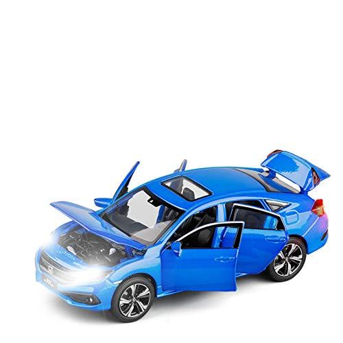 DXZJ Simulación 1/32 para Honda Civic Toy Model Alloy Die Casting con sonido y luz juguete regalo de cumpleaños para niños (color azul)