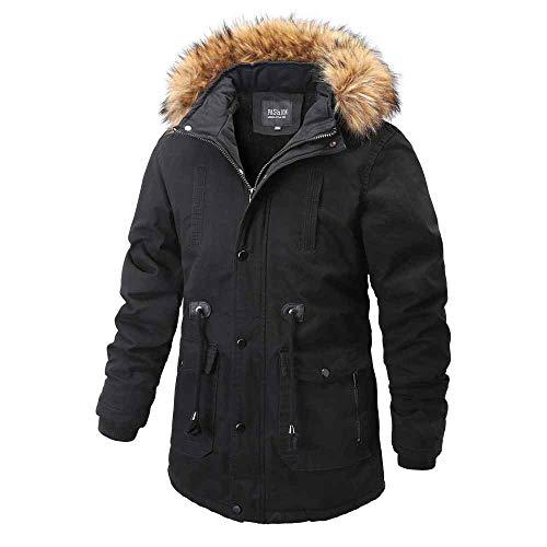 CRWOOL Abrigo de Hombre Invierno Elegantes Slim Chaqueta Pullover Outwear Parka para Viajar, Esquiar y Caminar en Otoño e Invierno M-3XL (crct009),Black,2XL