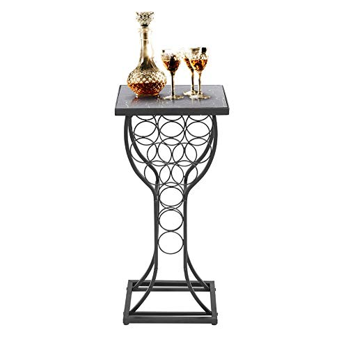 Wakects - Estantería para vino con mesa de acabado de mármol, organizador de almacenamiento de vino, estantería de 11 botellas con soporte, organizador de almacenamiento de vino, muebles de metal