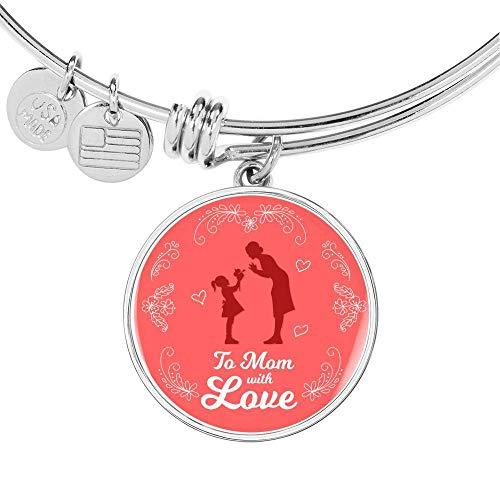To Mom with Love Circle - Colgante de acero inoxidable de 18 quilates, oro de 18 quilates, 18 a 22 pulgadas
