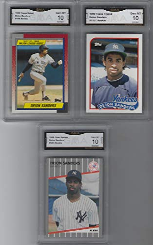 DEION SANDERS 3 ROOKIE CARD LOT BASEBALL GRADED GEM MINT 10 YANKEES