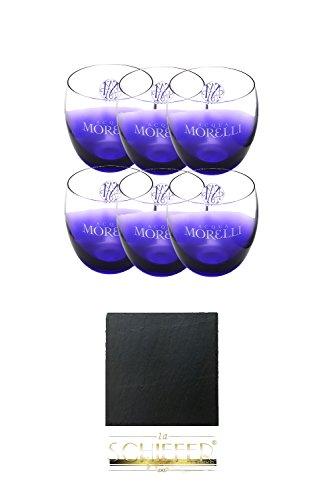 Morelli Leonardo Wassergläser mit Eichstrich 0,2 Liter 6 Stück + 1aSchiefer Untersetzer