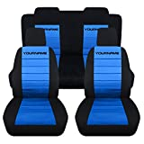 Totally Covers Compatible with 2005-2010 Ford Mustang 2-Tone Seat Covers with Your Name/Text: Black & Light Blue - Full Set (22 Colors) Coupe/Convertible V6/GT Solid/Split Bench 50/50 5th Gen
