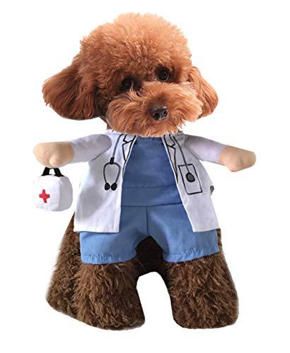 Xiaoyu Cachorro Perro Gato Disfraz de Halloween, Disfraz Estilo médico, médico Abrigo Caja de Medicina para la Fiesta de Cosplay Perro Gato, L