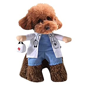 Xiaoyu Puppy Dog Cat Halloween Costume, Doctor Style Costume, Doctor Coat Medicine Box for Dog Cat Cosplay Party