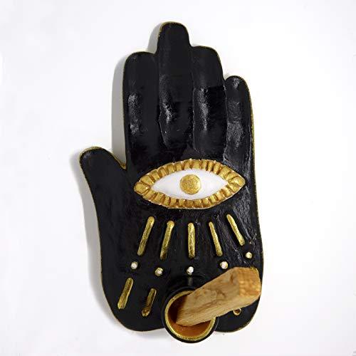 Black Hamsa Hand Palo Santo Incense Burner, Holder - Handmade - includes...