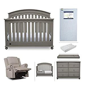 Baby Furniture Set – 7-Piece Nursery Furniture |Simmons Kids Aden | Convertible Crib, Dresser, Glider Recliner, Crib Mattress,Toddler Rail, Changing Top, Changing Pad, Storm Grey/Flax