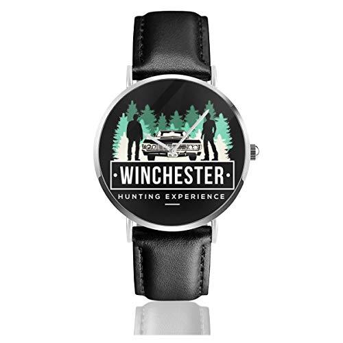 Unisex Business Casual Supernatural Winchester Jagd Erfahrung Uhren Quarz Leder Uhr mit schwarzem Lederband für Männer Frauen Junge Kollektion Geschenk
