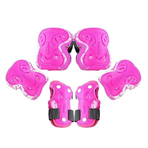 Equipo de protección deportiva Almohadilla de seguridad Codo de rodilla Almohadillas de soporte de muñeca Protección para patineta para mayores de 11 años y adultos Rosa L Tamaño 6pcs