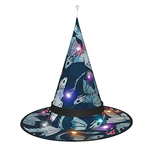 Buy Bargain Dragon Fire Dark Blue Witch Hat Led Lights Halloween Decoration Party Carnival 5 Pcs