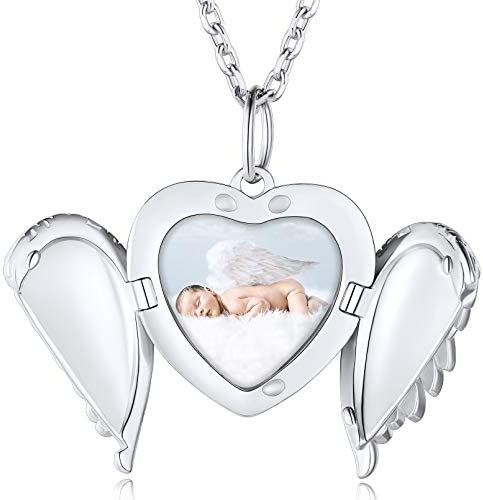 Angel Wings Lockets for Women 18 Inches Sterling Silver Necklace Personalized Picture Frame product image