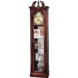 Howard Miller Cherish Floor Clock 610-614 – Lightly Distressed Windsor Cherry Curio Display Cabinet, Vertical Home Decor with Quartz Movement