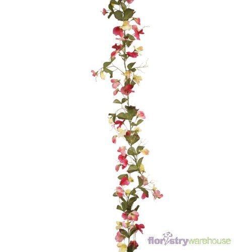 FloristryWarehouse Artificial Sweetpea Garland Pink/Lemon 180cm