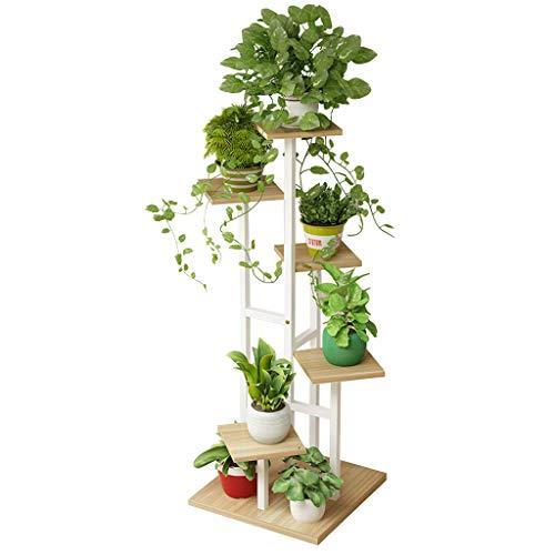 LHNLY-Blumenregal 6-Tier-hölzerne Blumenständer Pflanzer Halter Metallleiter Stand Anzeige im Innen Wohnzimmer Garten