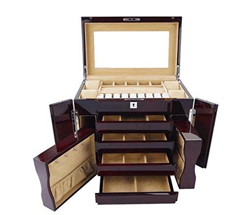 XYLUCKY Boîte à bijoux en bois de grande capacité fabriquée à la main avec grande serrure et clé à miroir - Coffre de rangement à usage multiple - avec 4 tiroirs coulissants et 2 petites armoires latérales , red wine