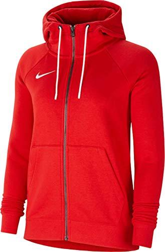 Sweat à Capuche de Football à Manches Longues et Zippé en Molleton pour Femmes, Taille S, Rouge Université/Blanc/Blanc