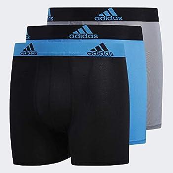 adidas Youth Kids-Boy s Performance Boxer Briefs Underwear  3-Pack  Solar Blue/Black Black/Solar Blue Grey/Black ,X-Large