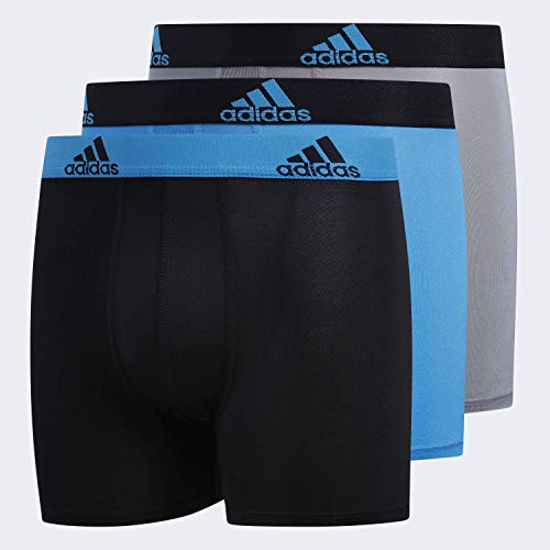 Adidas Boy Sport Performance Climalite Boxer Briefs Underwear (3-Pack), Solar Blue/Black | Black/Solar Blue | Grey/Black, X-Large