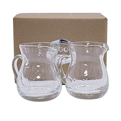 DGQ Classic Glass Creamer Pitcher with Handle 4oz Pack of 2 Milk Pourer Mini Creamer for Coffee Tea Maple Syrup Serving