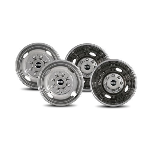 Pacific Dualies 38-1608 Polished 16 Inch 8 Lug Stainless Steel Wheel Simulator Kit for 1974-2000 Chevy GMC 3500, 1974-1998 Ford F350, 2008-2021 Ford E350/E450 Van, 1974-1999 Dodge Ram 3500