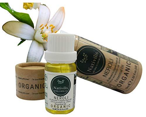 Nativilis Organic Neroli Essential Oil Blend 5% (Citrus aurantium var. amara/Argania spinosa) (Citrus aurantium var. amara) - 100% Natural - 10ml - (GC/MS Tested)