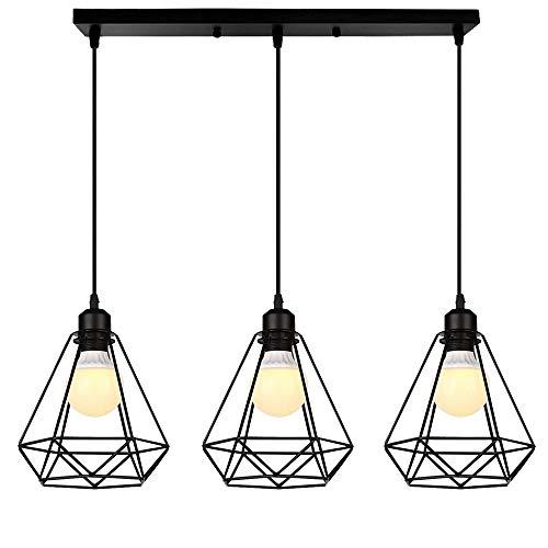 Chao Zan Lámpara de Techo industrial Vintage 3L diamante Cage Retro Iluminación...