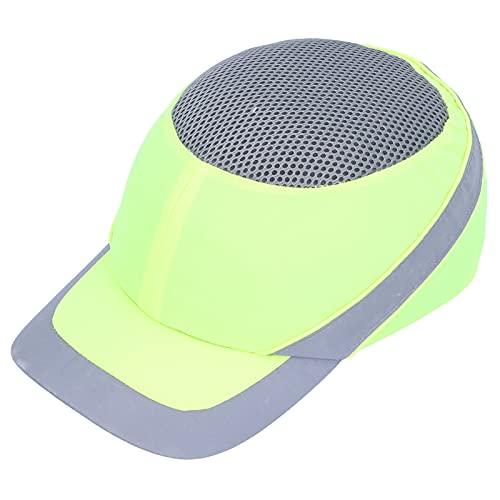 Grüner PU-Schutzhelm, Silent Safety Bump Cap, Schutzhelm, Baseball-Style, Kopfschutz, Atmungsaktiver, Gegen Kollision Einstellbarer Stoßdämpferhelm mit Fluoreszierendem Reflexstreifen