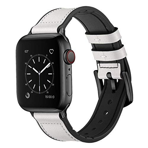 De Galen Correa de silicona y piel para Apple Watch 5, 4 mm, 40 mm, 42 mm, 38 mm, correa de piel, compatible con Apple Watch 5, 4, 3, 2, 1, 4 y 4
