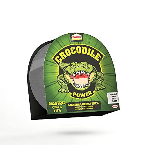 Pattex Crocodile Power Tape, Potente Nastro Telato 2 Volte Più Spesso, Nastro Extra Forte Grigio per Riparazioni, Nastro Adesivo per Molti Materiali, 30 m x 50 mm