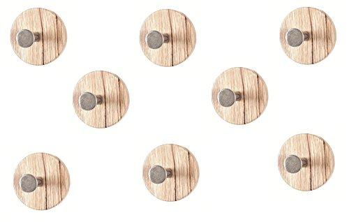 8er Set Garderobenknopf Maße (B/T/H) in cm: 7 x 5 x 7 in eiche San Remo-chrom nickel