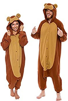 Silver Lilly Unisex Adult Pajamas - Plush One Piece Cosplay Teddy Bear Animal Costume  Brown Medium