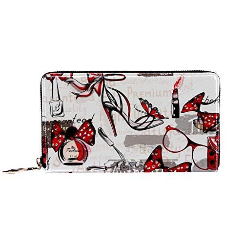 XCNGG Leder Geldbörse High Heels und Brillen Muster Brieftaschen Kartenhalter Clutch mit vielen Taschen für Frauen Männer Mädchen Mädchen Jungen Kleine kompakte Brieftasche Bifold