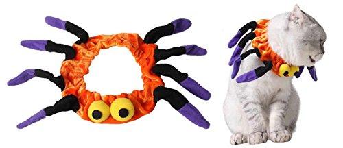 Lanyar - Costume da ragno per gatti, accessorio per feste di Halloween, colore arancione, regolabile da 20,3 a 25,4 cm