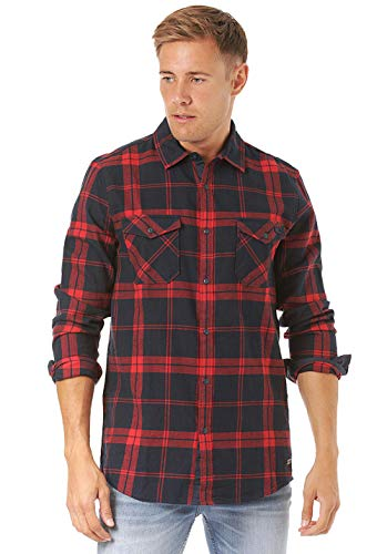 O'NEILL LM Check Flannel Shirt Camisa Hombre, Red AOP, XL
